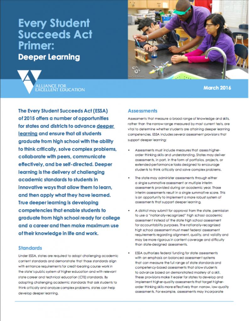 Essa Deeper Learning Fact Sheet