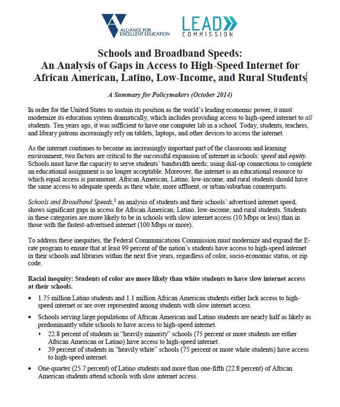 Schools and Broadband Speeds