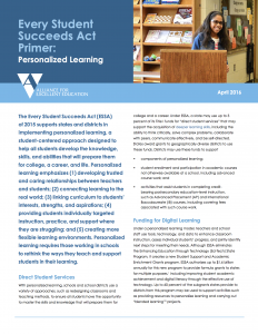 Every Student Succeeds Act Primer: Personalized Learning