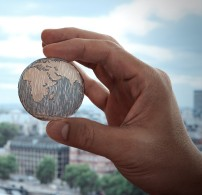 close up of businessman hand showing texture the world - Elements of this image furnished by NASA london city background