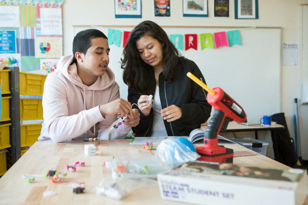 High schoolers at Capital City Public Charter School work together to assemble a circuit kit in the school's makerspace. Photo by Allison Shelley/The Verbatim Agency for American Education: Images of Teachers and Students in Action